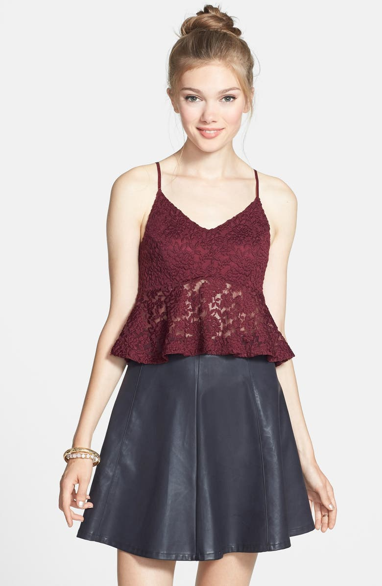 LILY WHITE Faux Leather Skater Skirt, Main, color, 013