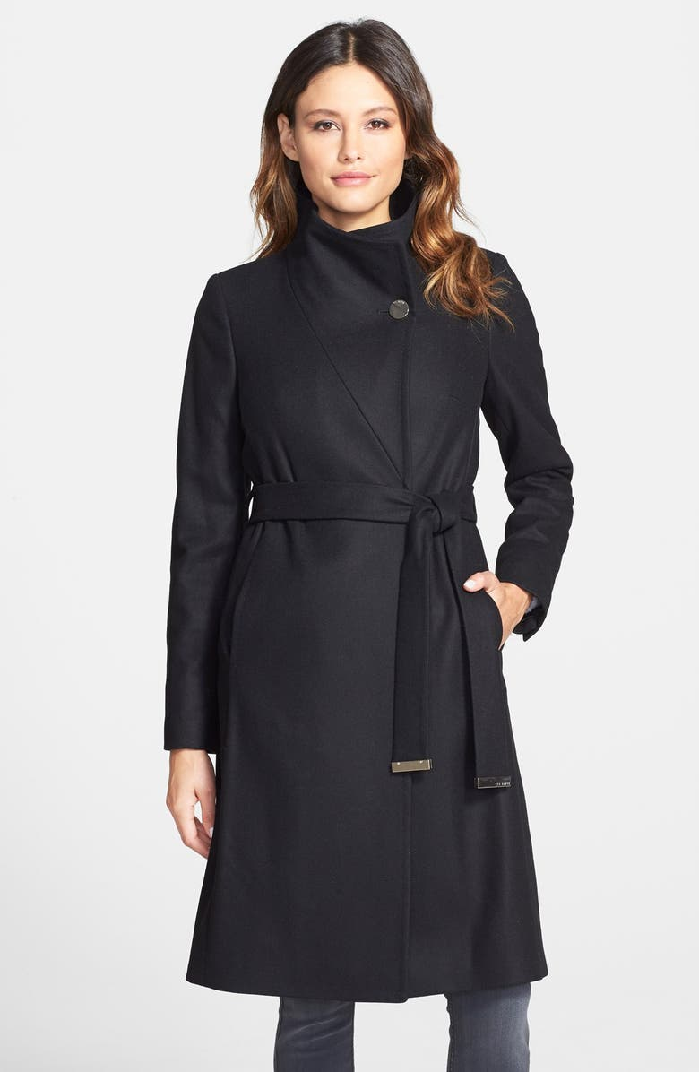 TED BAKER LONDON 'Nevia' Stand Collar Belted Wrap Coat, Main, color, BLACK