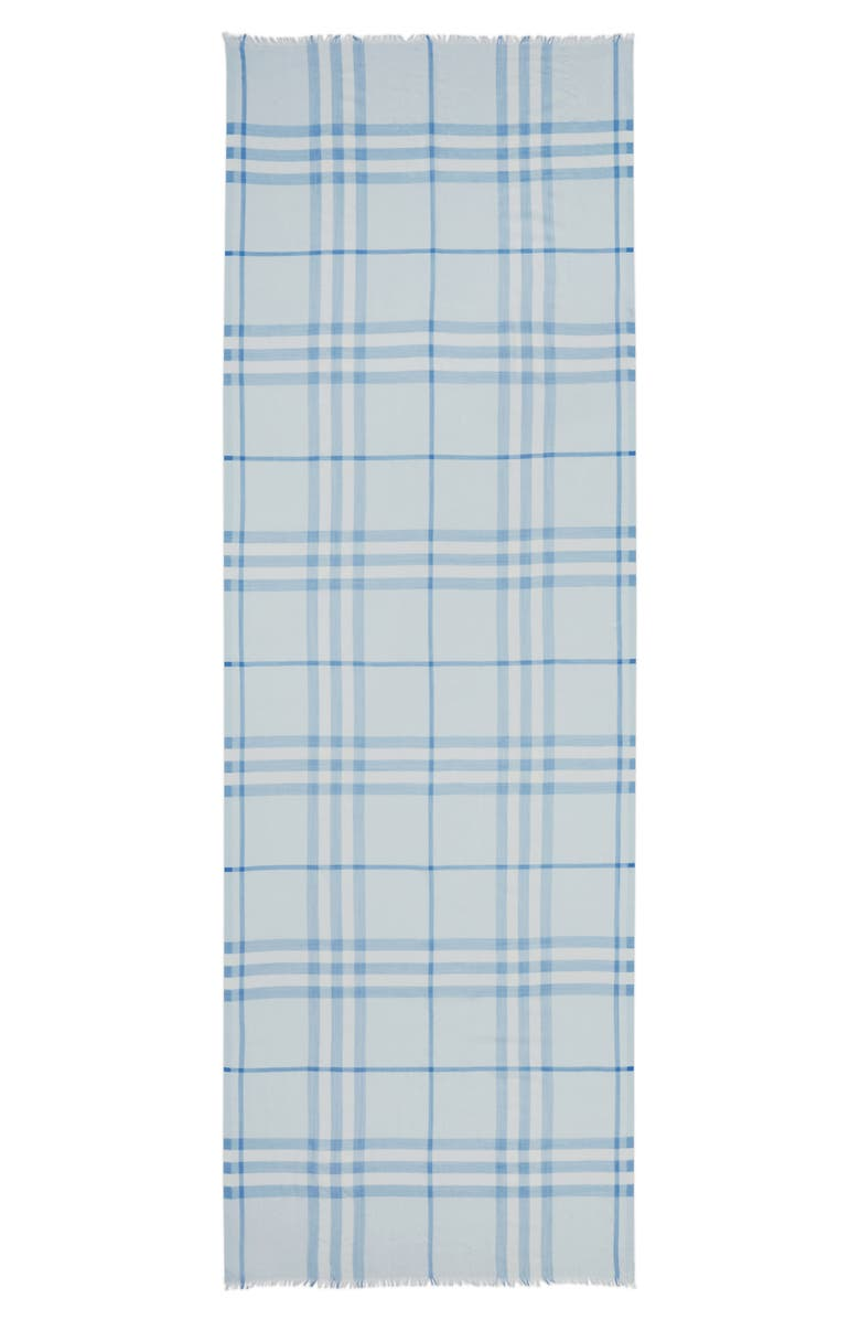 BURBERRY Giant Check Wool & Silk Gauze Scarf, Main, color, SOFT BLUE
