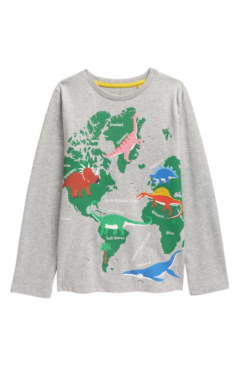 MINI BODEN Kids' Educational Graphic Pullover, Main, color, GREY MARL DINO MAP