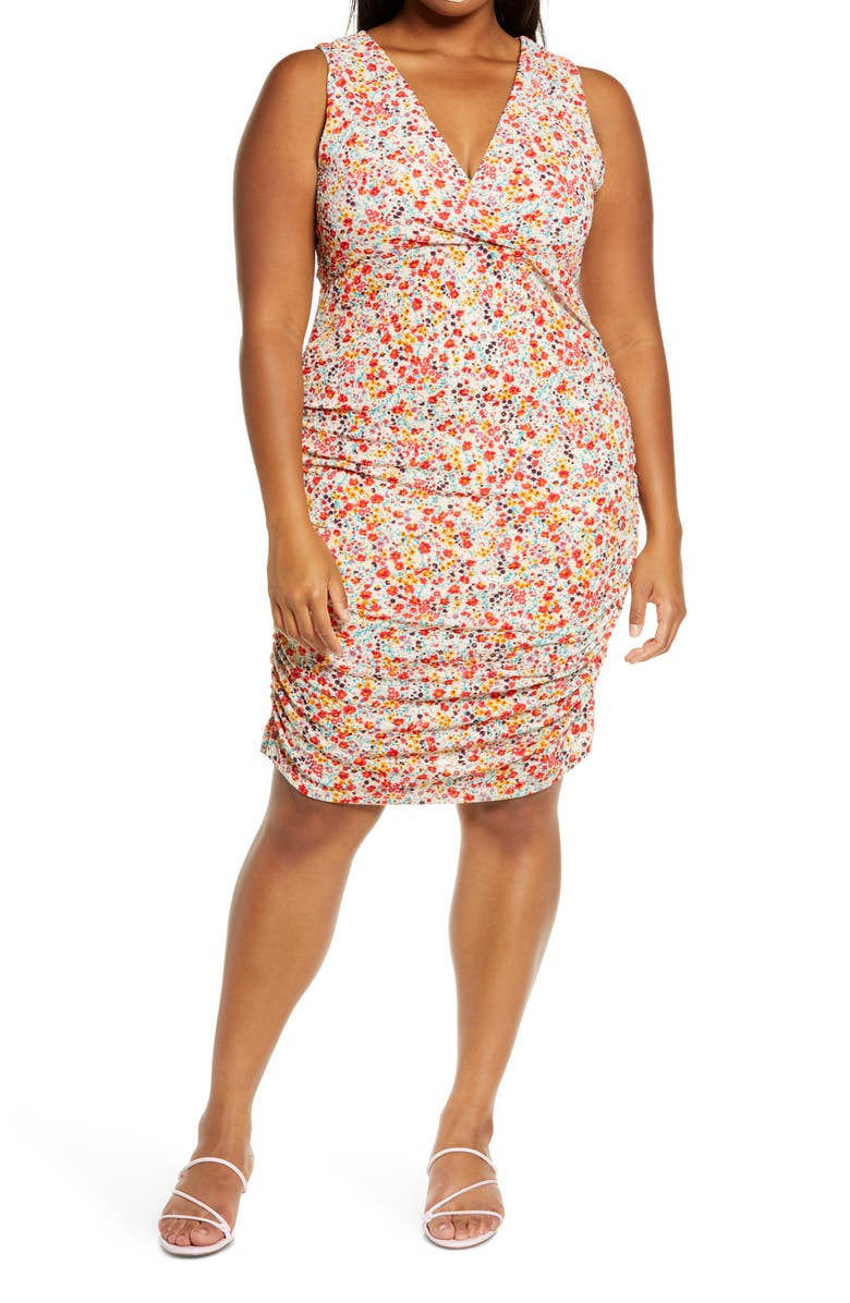 LEITH Surplice Ruched Dress, Main, color, 720