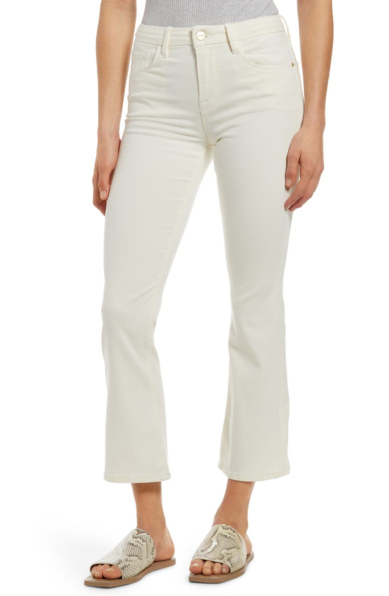 FRAME Le Crop Mini Bootcut Sateen Jeans, Main, color, OFF WHITE