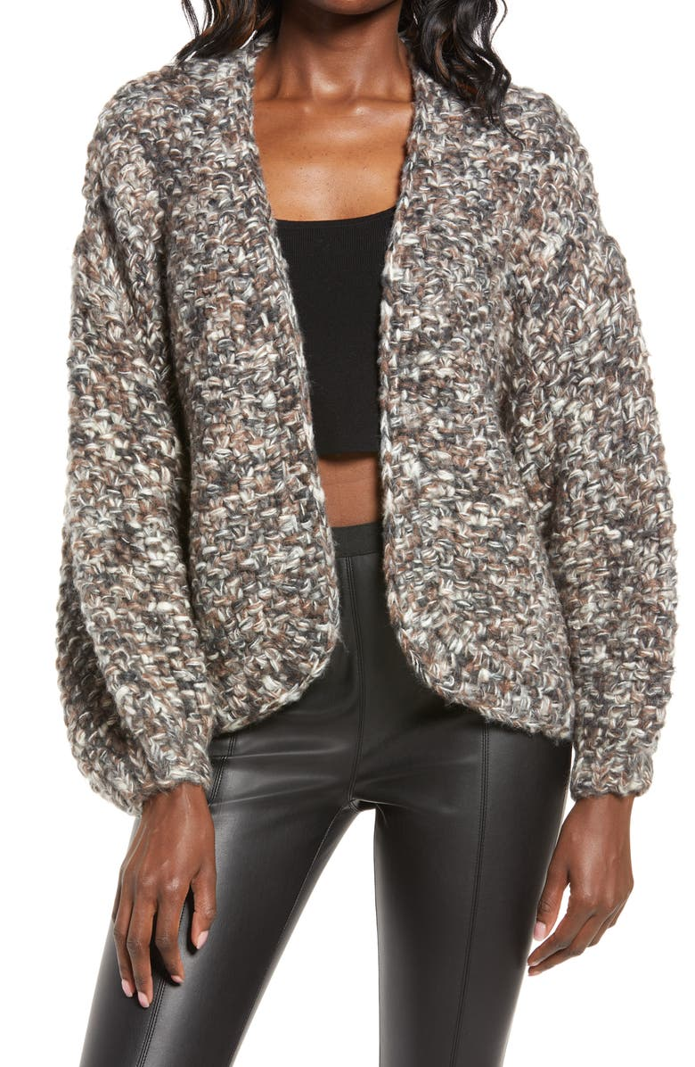 BLANKNYC Marled Crop Open Front Cardigan, Main, color, SKYLINE