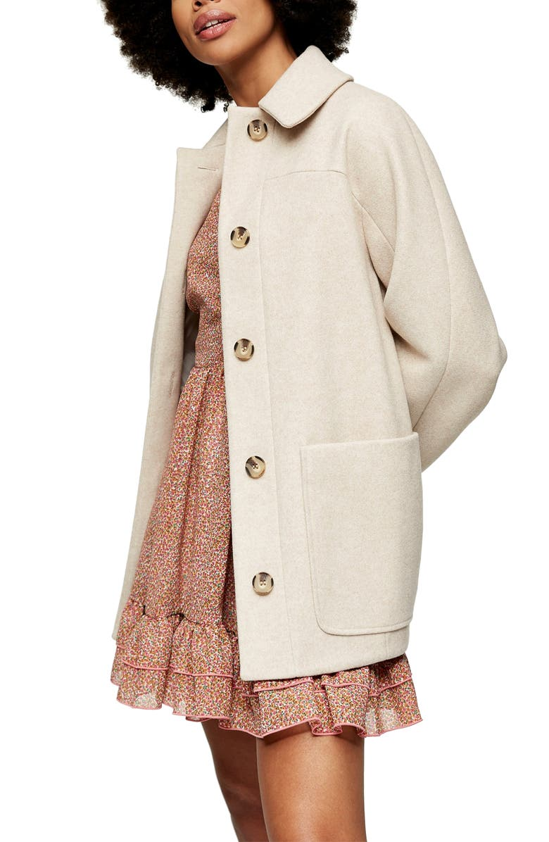 TOPSHOP Oregon Car Coat, Main, color, OATMEAL