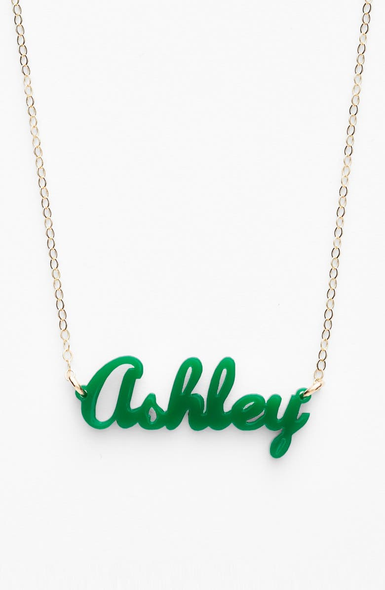 MOON AND LOLA 'Script Font' Personalized Nameplate Pendant Necklace, Main, color, EMERALD/ GOLD