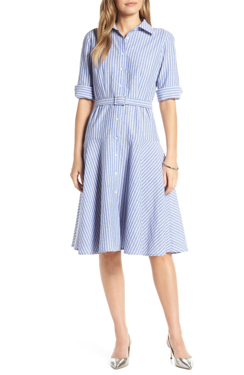 1901 Stripe Belted Shirtdress, Main, color, 420