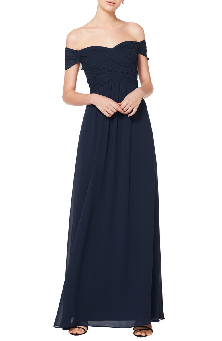 #LEVKOFF Off the Shoulder Chiffon A-Line Gown, Main, color, NAVY