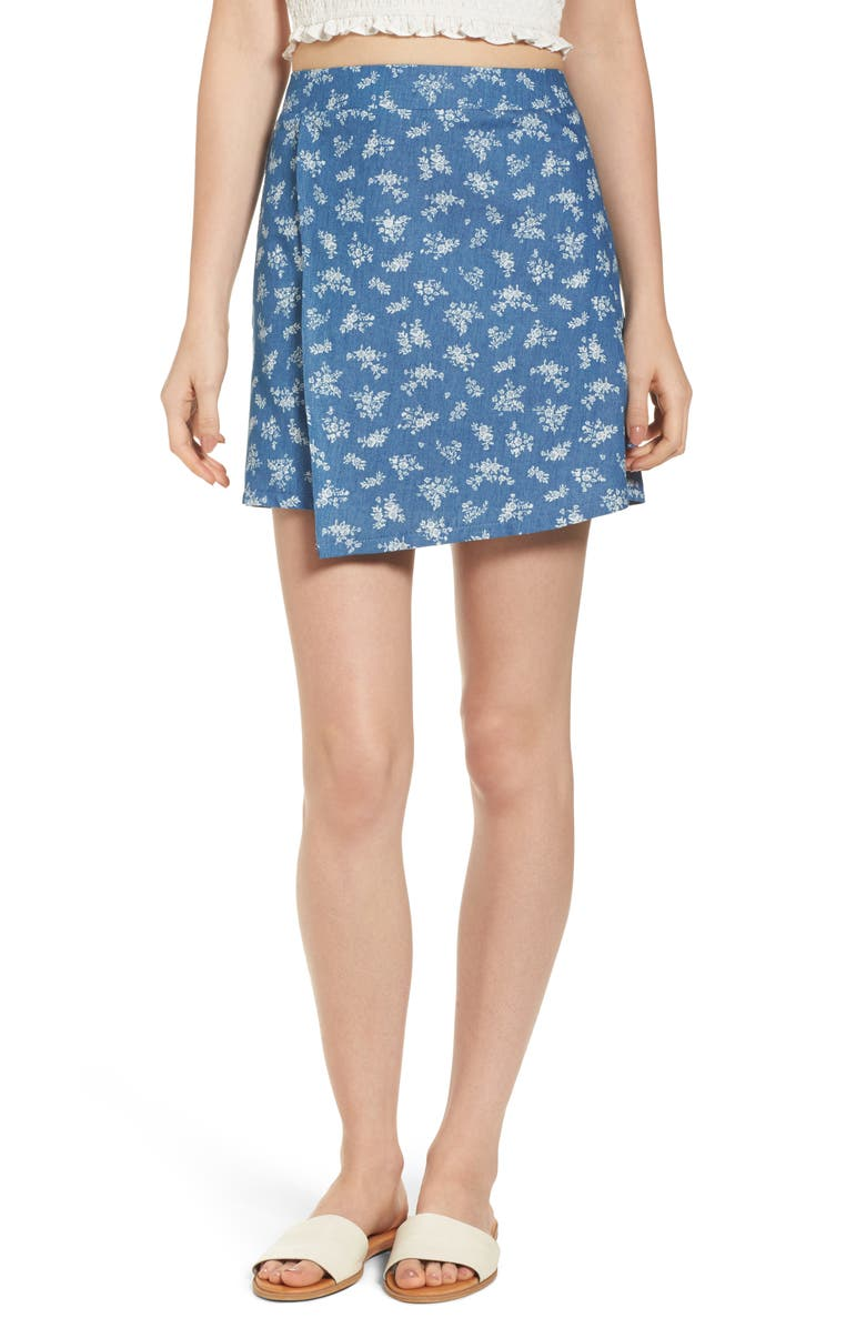 MIMI CHICA Floral Print Wrap Panel Denim Skirt, Main, color, CHAMBRAY FLORAL PRINT
