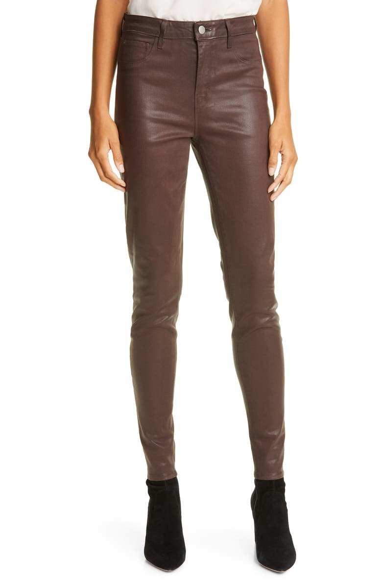 L'AGENCE Marguerite Coated High Waist Skinny Jeans, Main, color, COCOA COATED