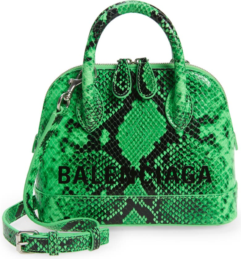 BALENCIAGA Extra Extra Small Ville AJ Snake Embossed Leather Satchel, Main, color, 300