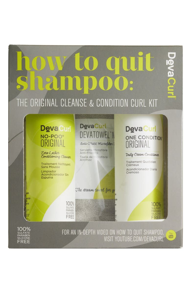 DEVACURL How to Quit Shampoo The Cleanse & Condition Curl Kit, Main, color, 000
