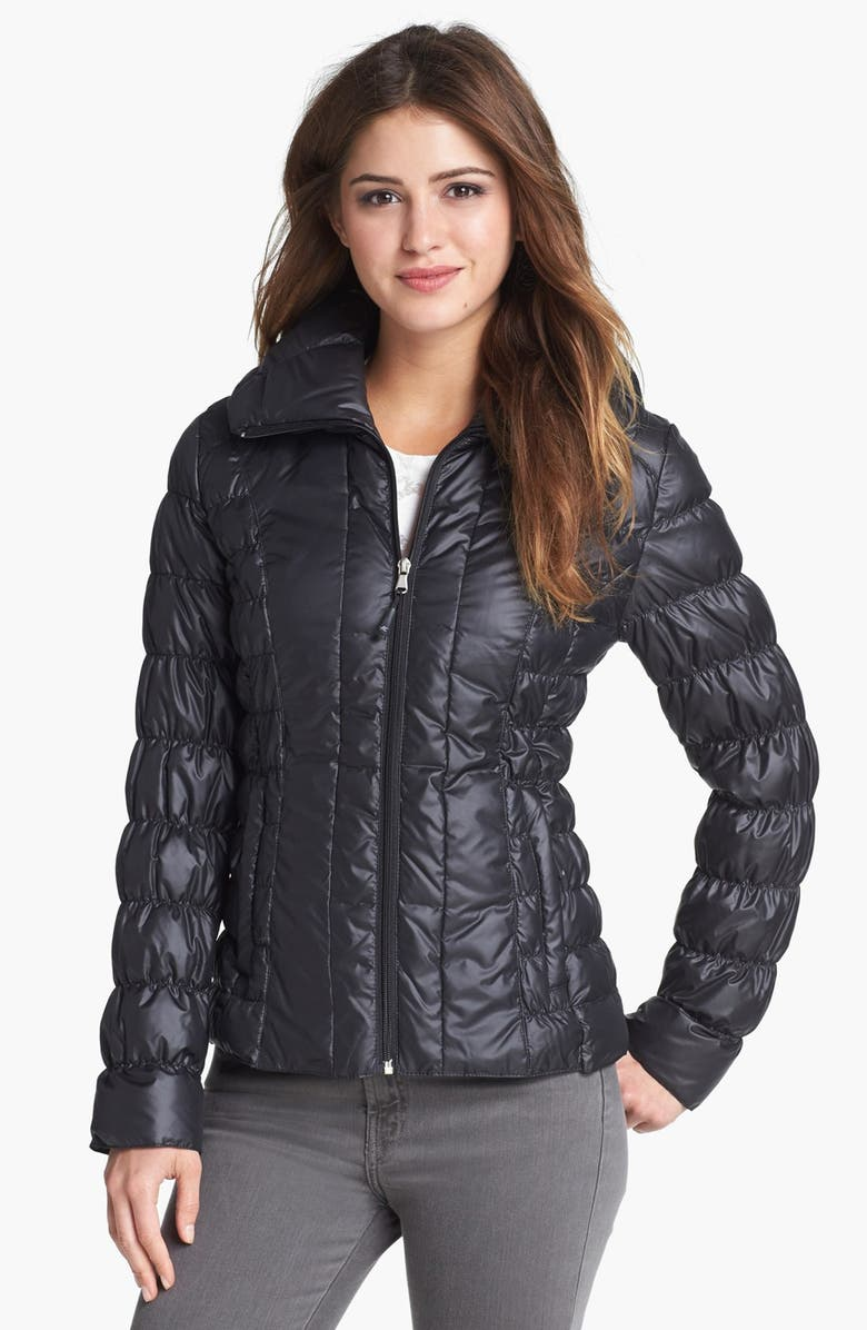 KENNETH COLE NEW YORK Ruched Packable Down Jacket, Main, color, 001