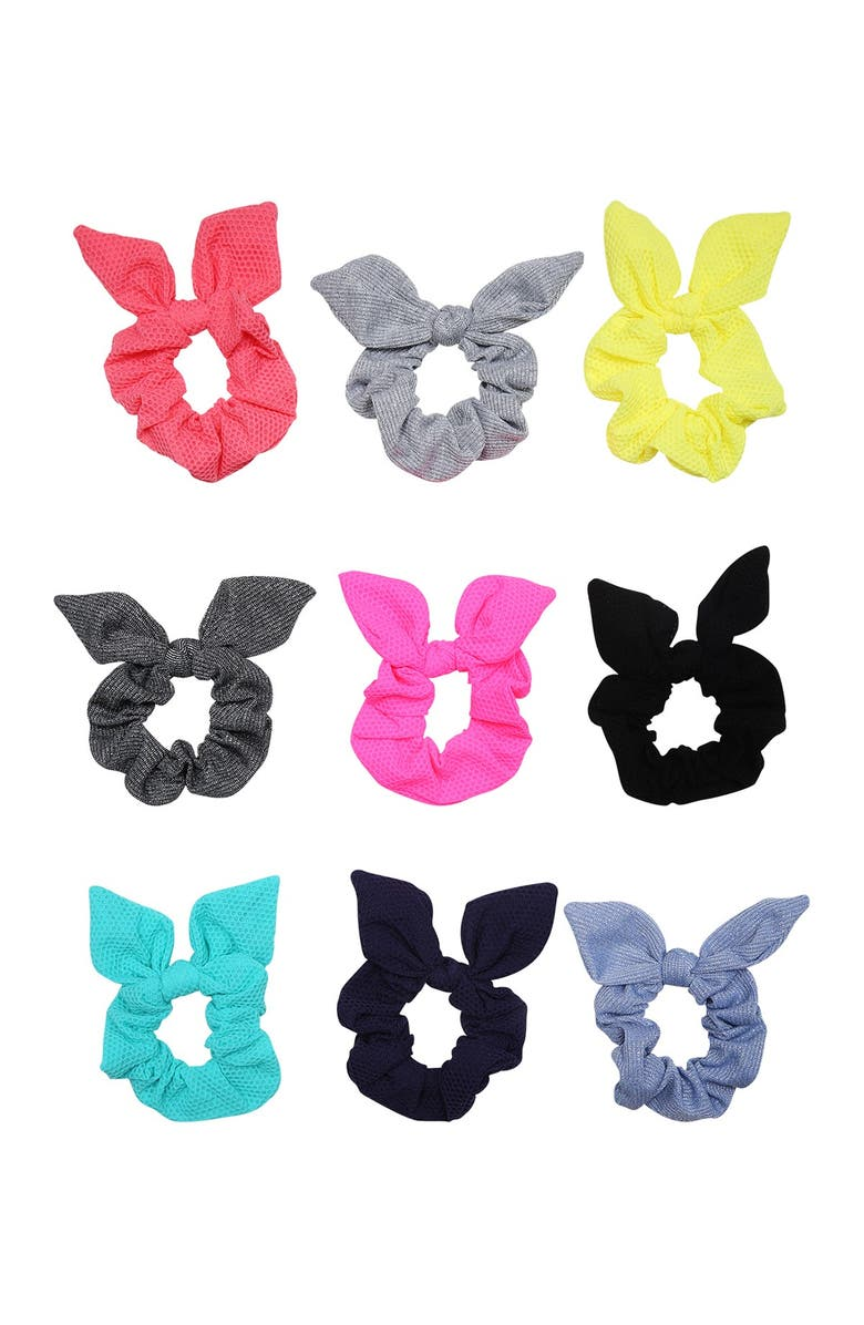 BERRY Sport Mesh & Sparkle Ribbed Mix Bow Scrunchie Set - Pack of 9, Main, color, MULTI