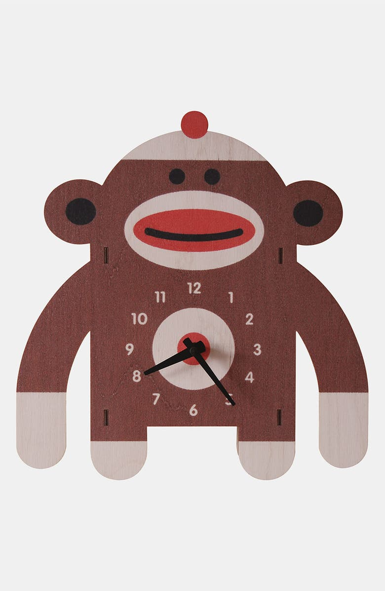 MODERN MOOSE 'Sock Monkey' Clock, Main, color, 200