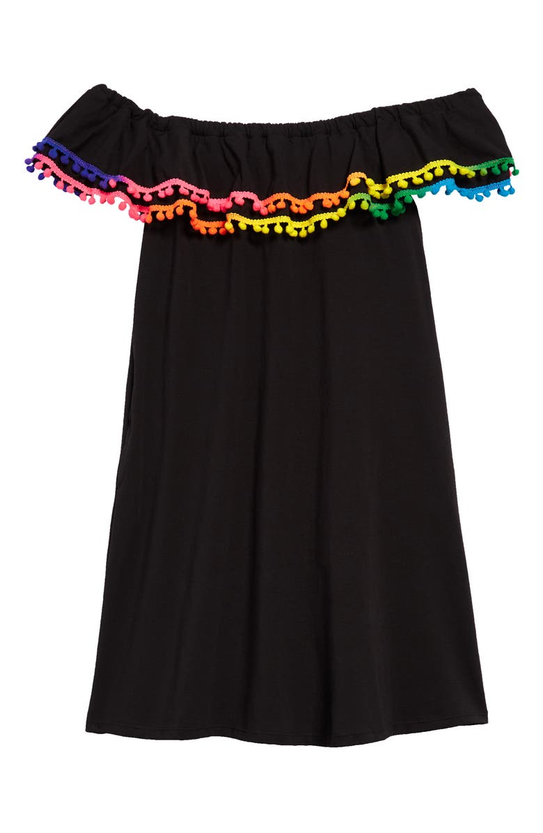 HEART AND HARMONY Pompom Cover-Up Dress, Main, color, BLACK