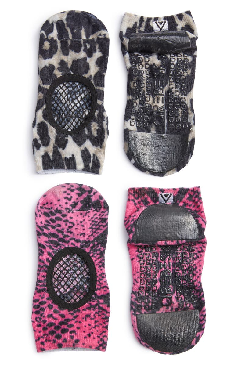 AREBESK Phish Net Assorted 2-Pack Closed Toe Ankle Socks, Main, color, PINK SNAKE / BROWN LEOPARD