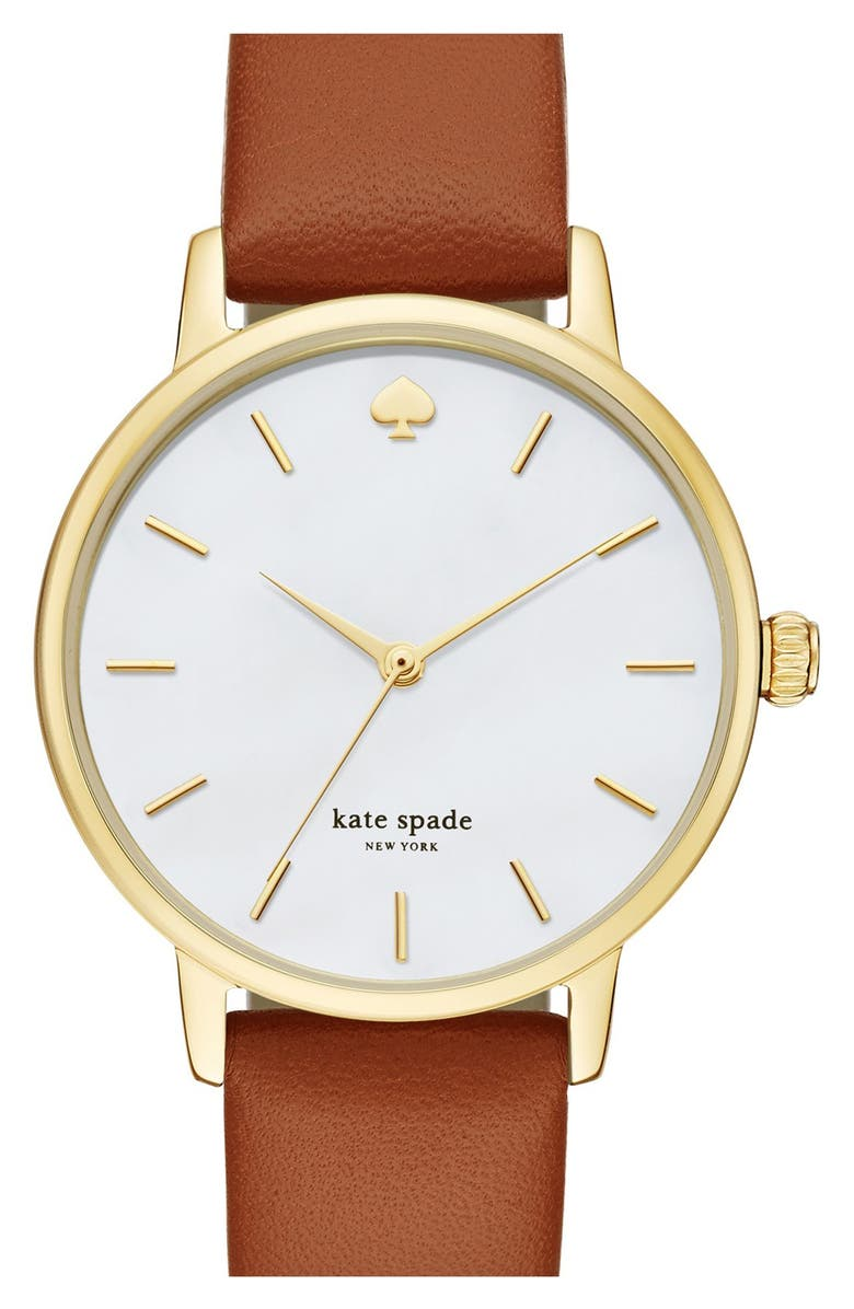 KATE SPADE NEW YORK 'metro' round leather strap watch, 34mm, Main, color, BROWN/ MOTHER OF PEARL
