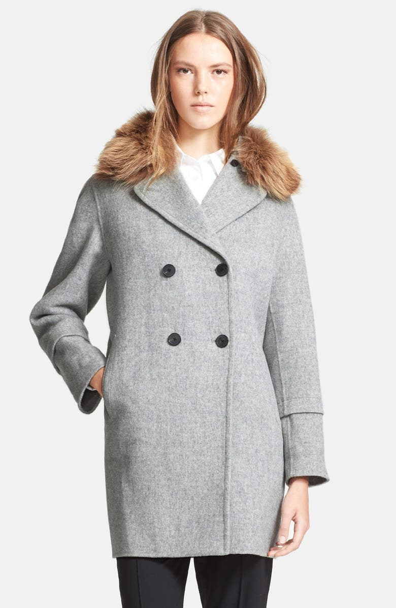VINCE Peacoat with Removable Genuine Coyote Fur Collar, Main, color, 020