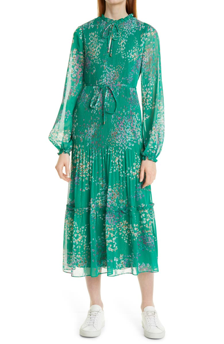 TED BAKER LONDON Serendipity Floral Metallic Micropleated Long Sleeve Dress, Main, color, MID GREEN