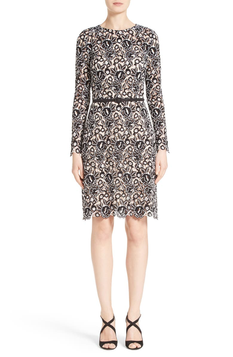 OSCAR DE LA RENTA Belted Lace Dress, Main, color, 001