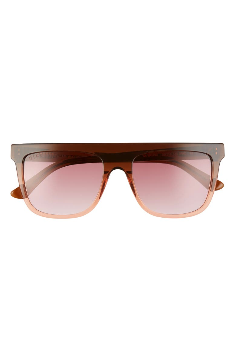 DIFF Stevie 55mm Gradient Flat Top Sunglasses, Main, color, TAUPE OMBRE CRYSTAL/ WINE GR