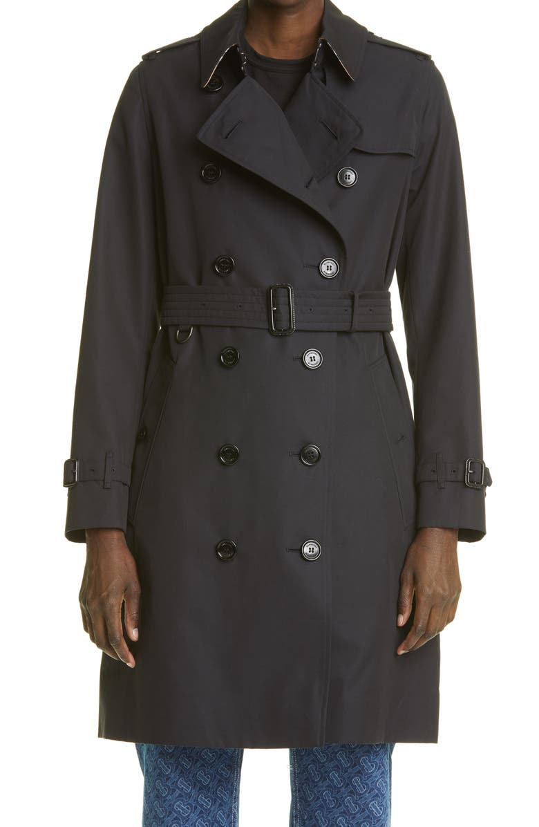 BURBERRY The Kensington Mid Heritage Trench Coat, Main, color, MIDNIGHT