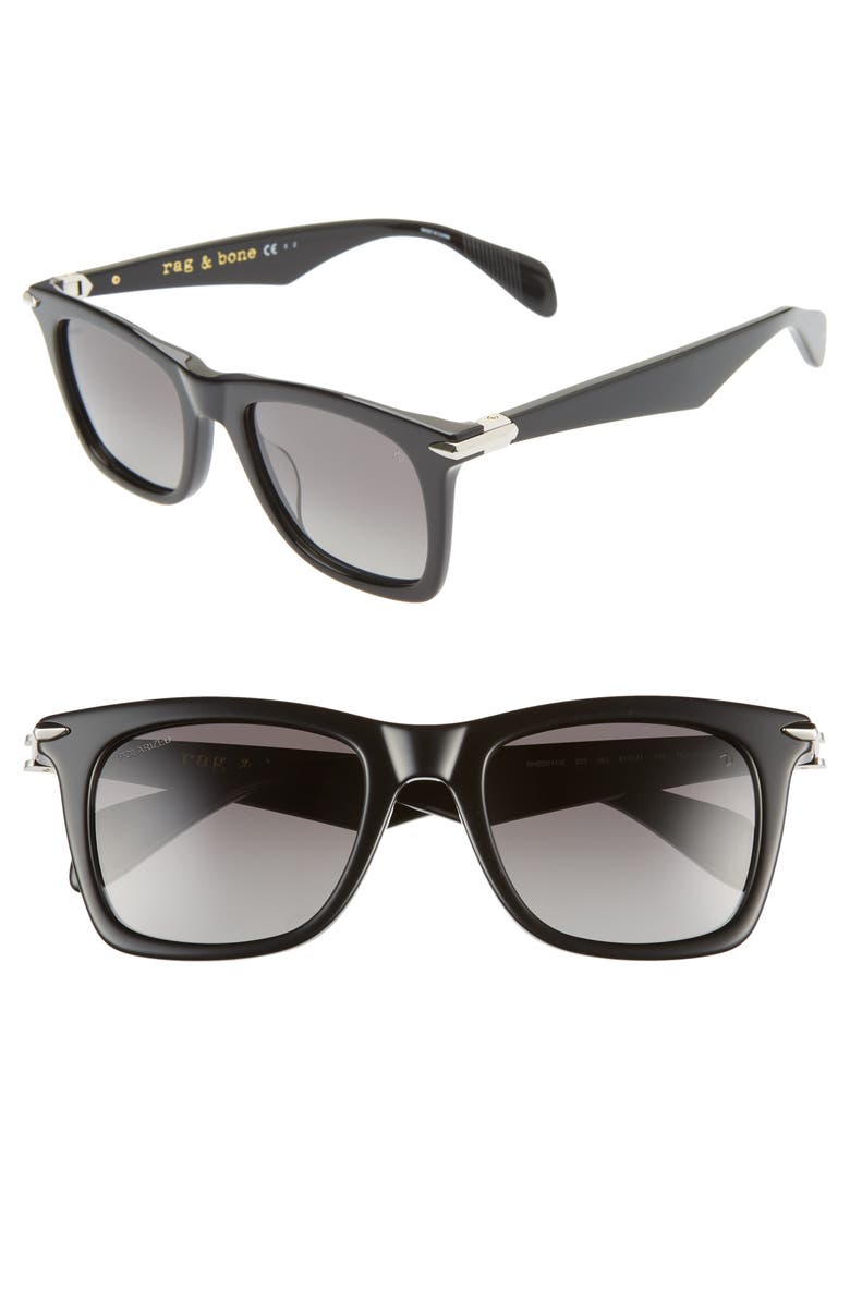 RAG & BONE 51mm Polarized Sunglasses, Main, color, 001