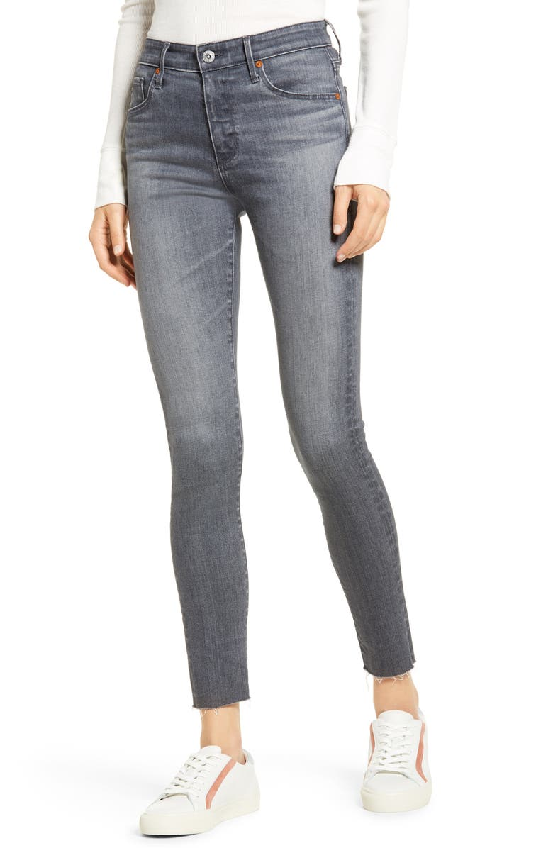 AG The Farrah High Waist Skinny Jeans, Main, color, GRAY PEARL