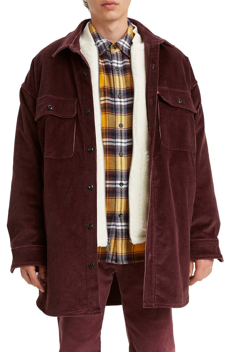 LEVI'S<SUP>®</SUP> Stay Loose Corduroy Worker Shirt Jacket, Main, color, SASSAFRAS STR 8W CORD GD
