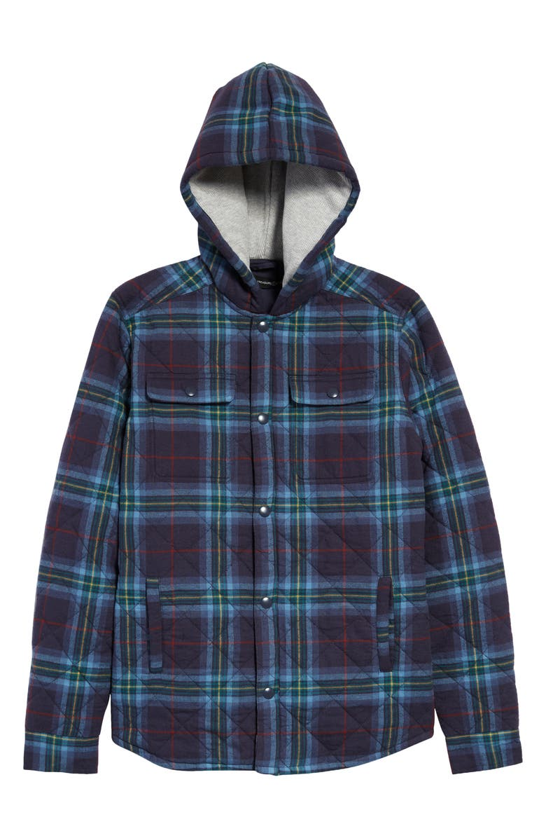 TREASURE & BOND Kids' Quilted Flannel Jacket, Main, color, NAVY CHARCOAL PLAID