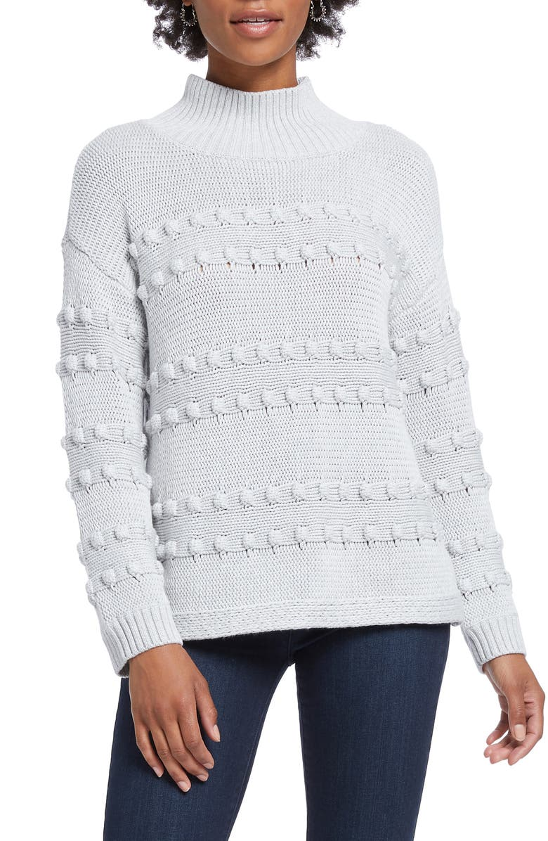 NIC+ZOE Adore A Ball Texture Stripe Turtleneck Sweater, Main, color, LIGHT GREY