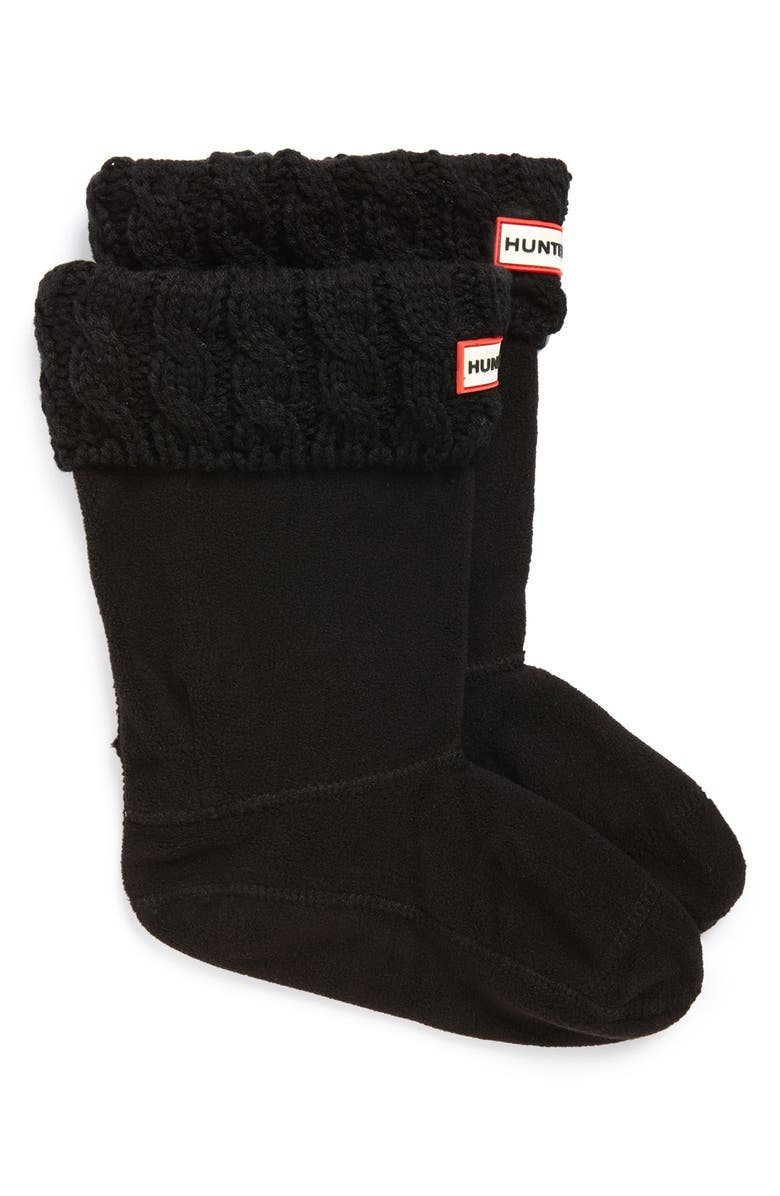HUNTER Cable Knit Cuff Welly Boot Socks, Main, color, Black