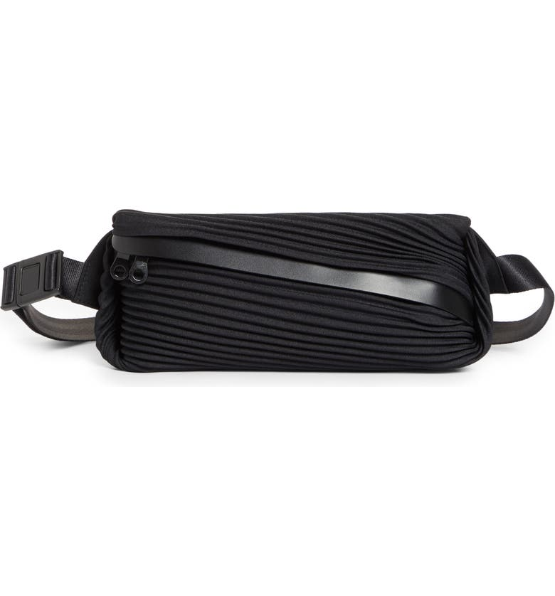 PLEATS PLEASE ISSEY MIYAKE Bias Pleated Belt Bag, Main, color, 001