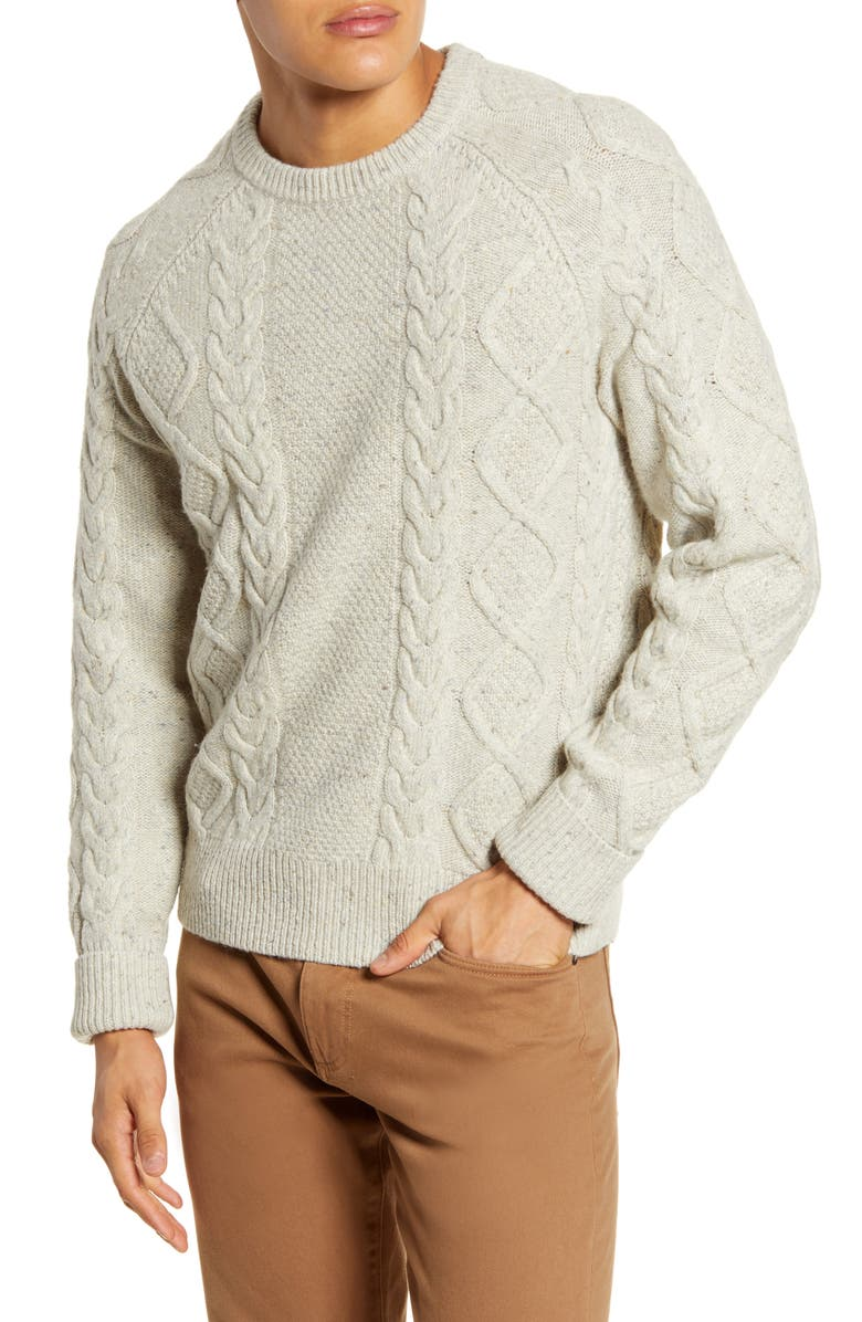 MADEWELL Donegal Cable Knit Fisherman Sweater, Main, color, SNOW HEATHER