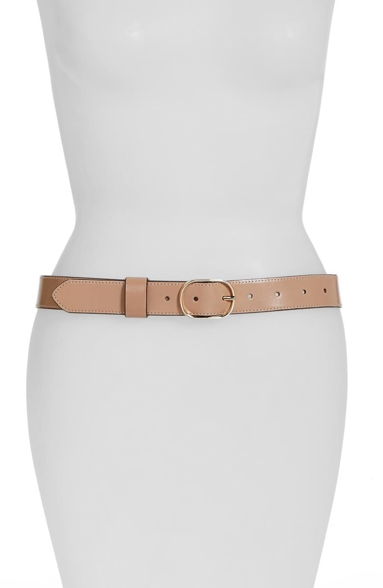 HALOGEN<SUP>®</SUP> Tailored Trouser Leather Belt, Main, color, 250