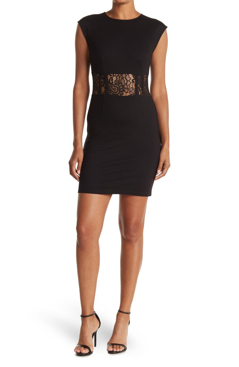 LOVE BY DESIGN Lace Midriff Dress, Main, color, BLACK