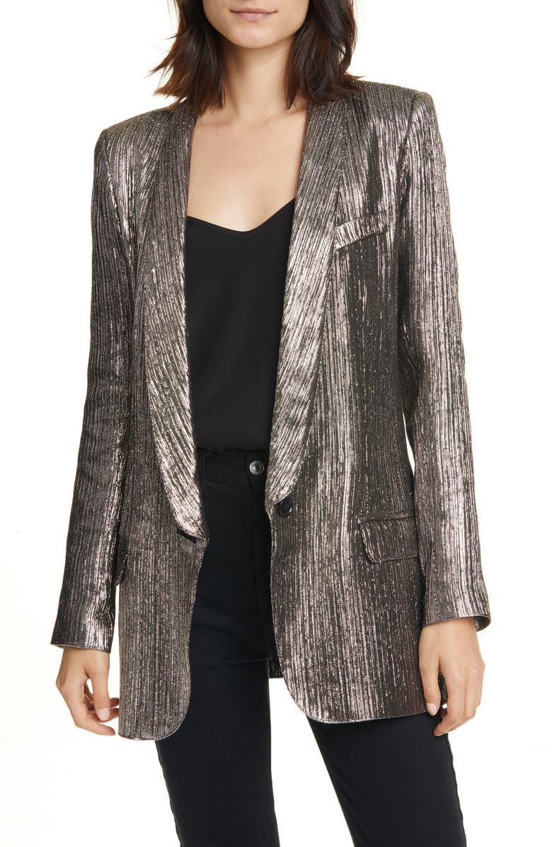 SMYTHE Long Shawl Collar Metallic Blazer, Main, color, 040