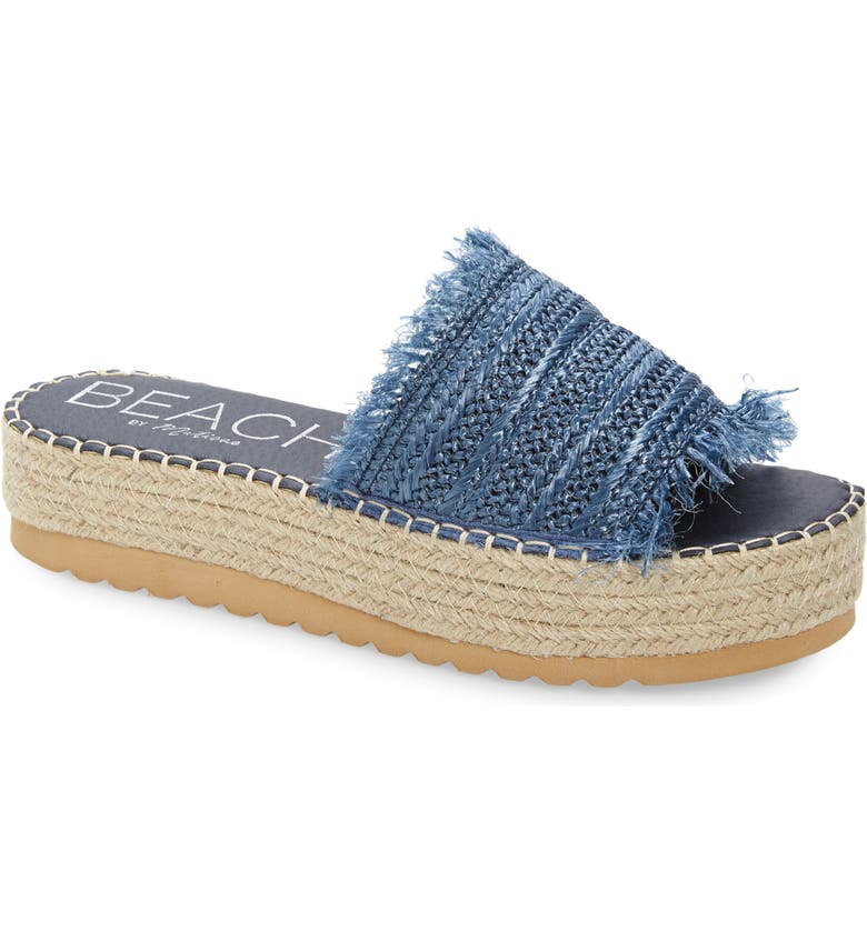 BEACH BY MATISSE Coconuts by Matisse Seashell Platform Slide Sandal, Main, color, BLUE FABRIC