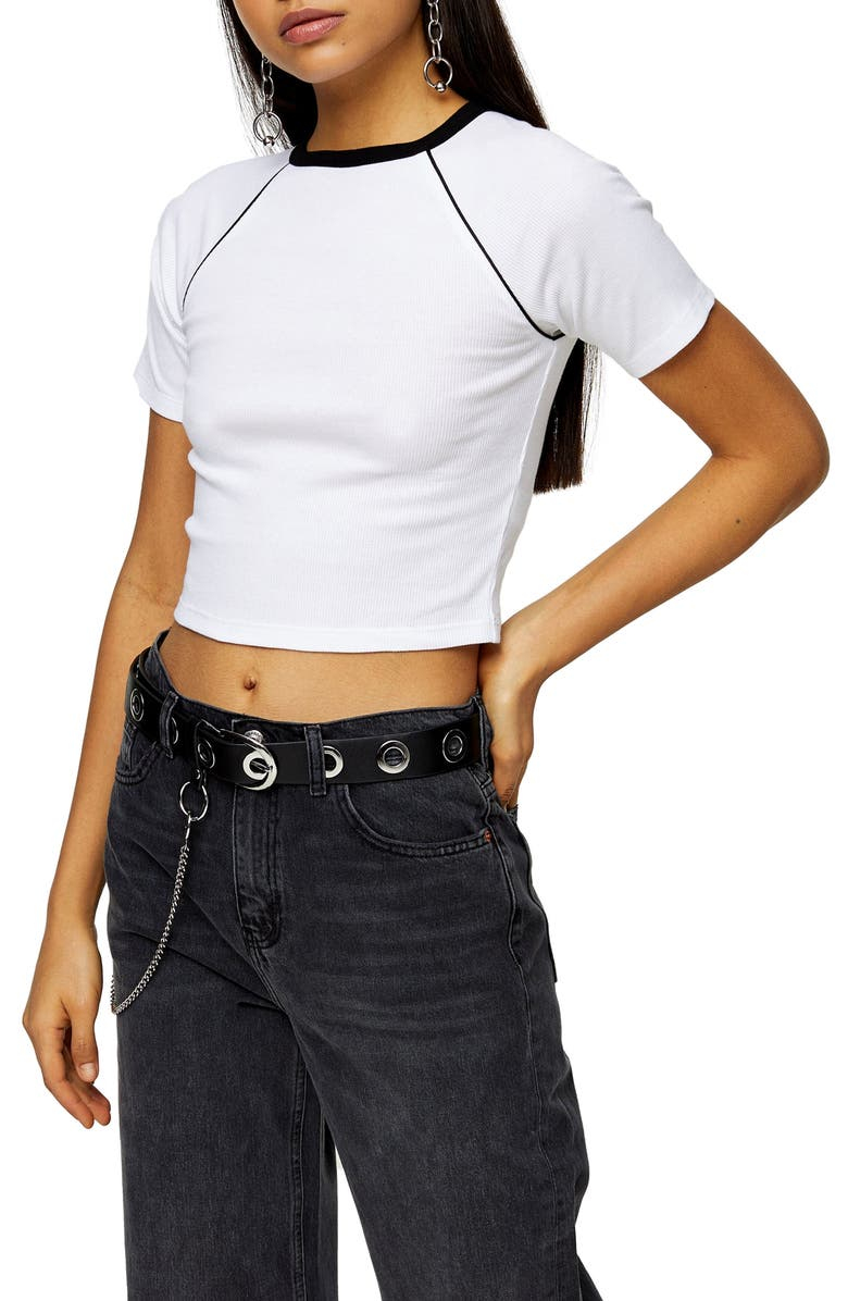 TOPSHOP Contrast Piping Crop Tee, Main, color, 100