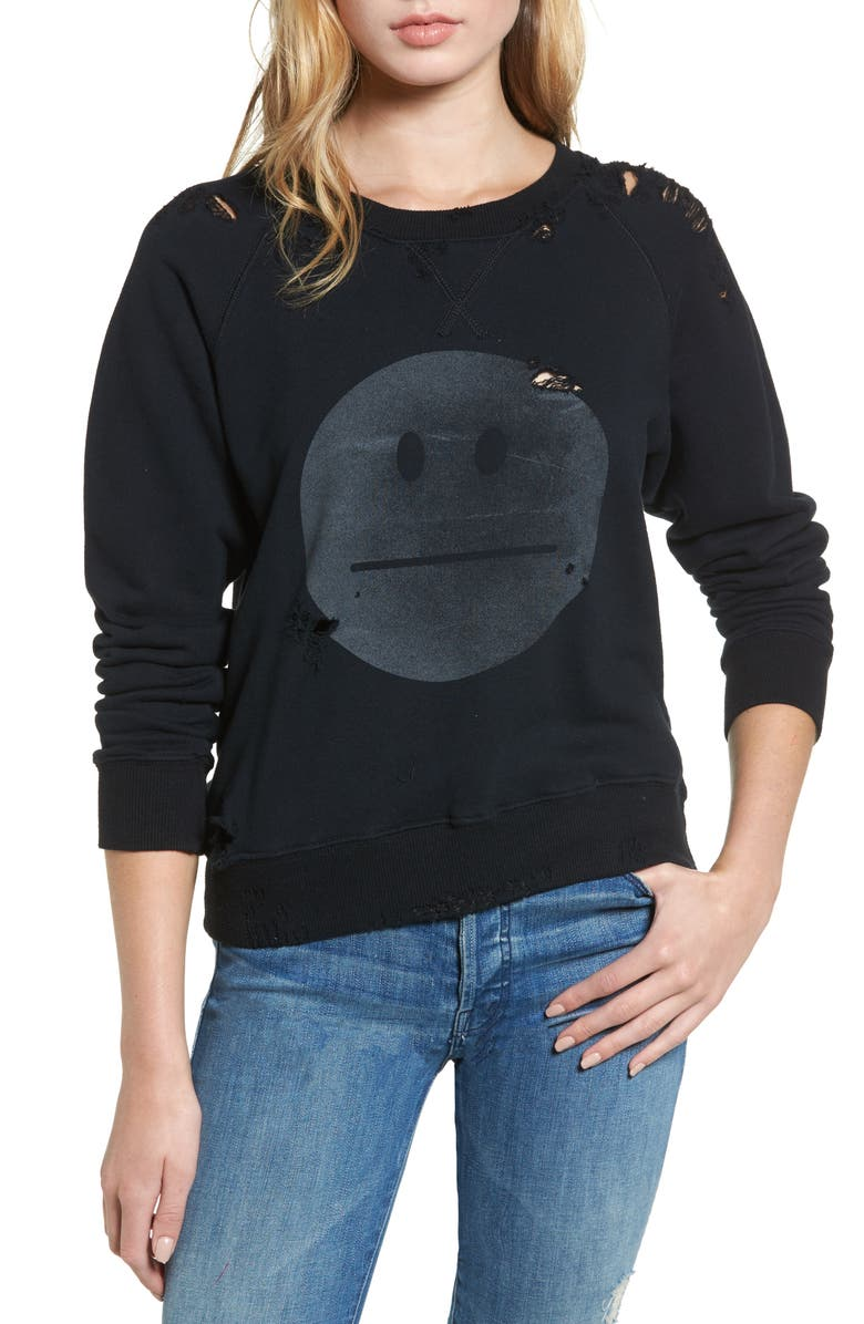 MOTHER 'The Square' Destroyed Graphic Pullover Sweatshirt, Main, color, 016