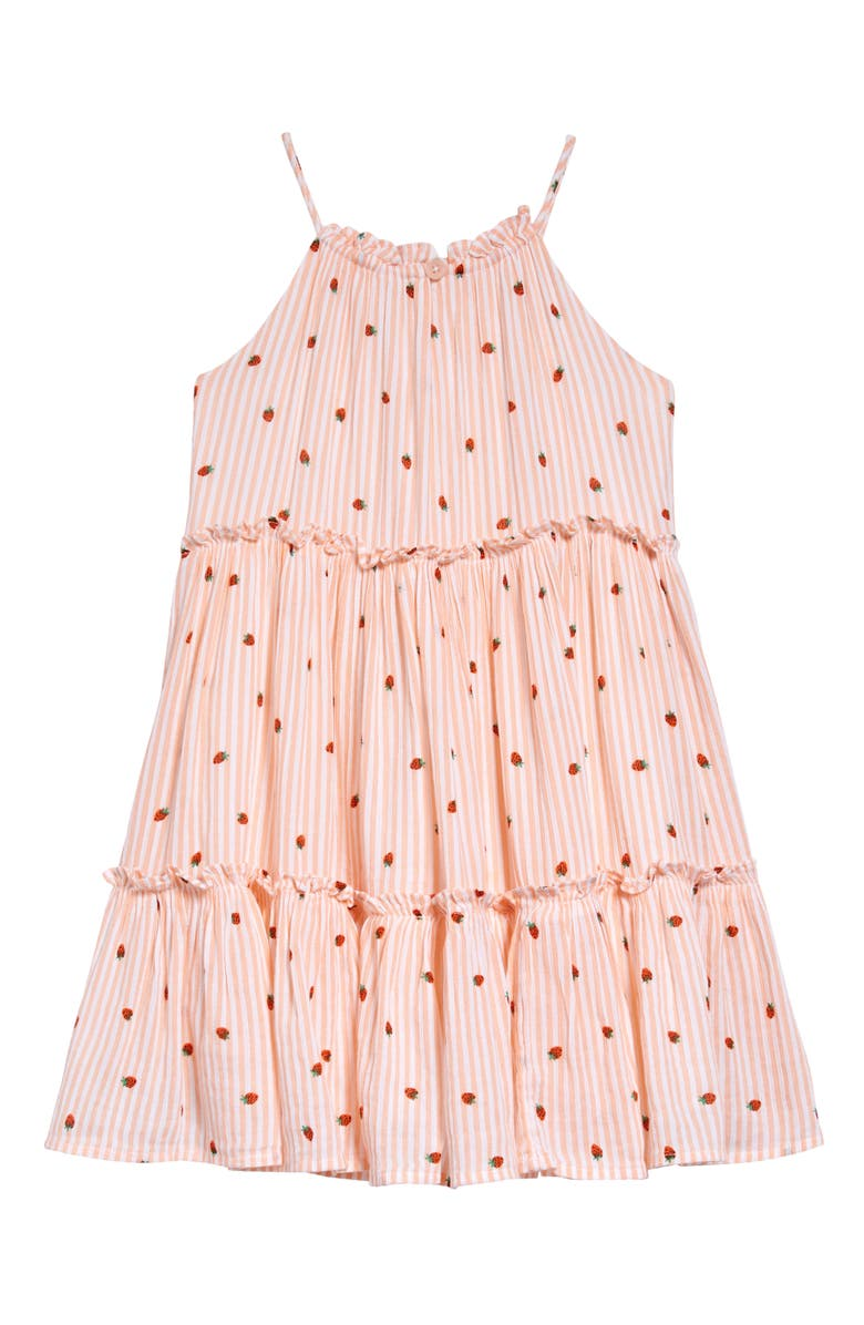 TUCKER + TATE Tiered Crinkle Dress, Main, color, WHITE- PINK STRAWBERRIES