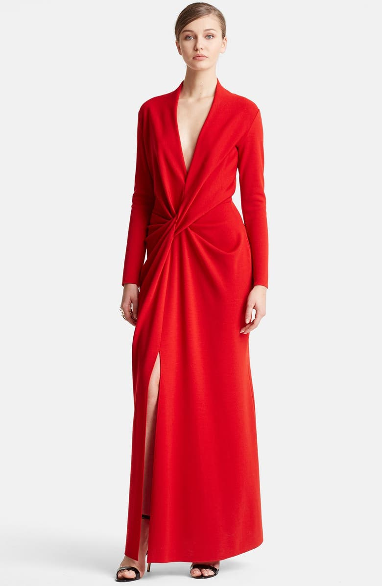 LANVIN Deep V-Neck Wool Jersey Gown, Main, color, RED