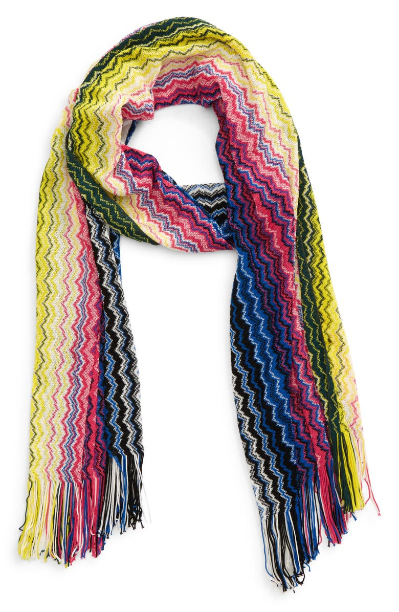 MISSONI Zigzag Cotton Scarf, Main, color, PINK PRINT