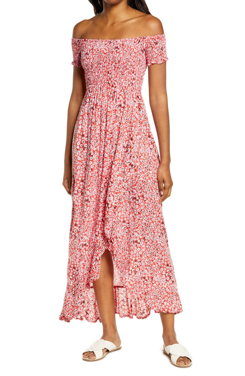TIARE HAWAII Cheyenne Off the Shoulder Cover-Up Maxi Dress, Main, color, FLORAL DOT RED