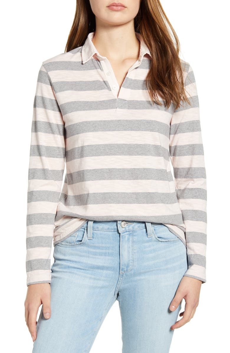 LUCKY BRAND Rugby Stripe Long Sleeve Polo, Main, color, 690