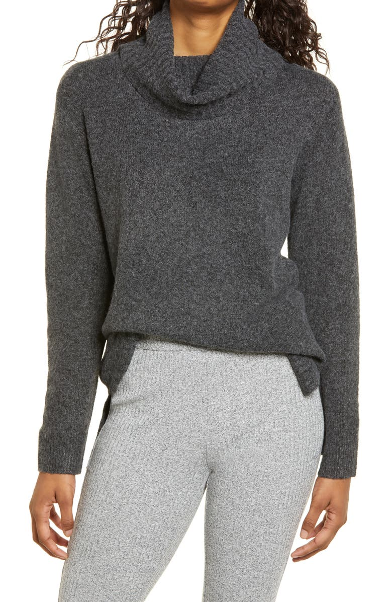BP. Longline Turtleneck Sweater, Main, color, GREY MEDIUM CHARCOAL HEATHER