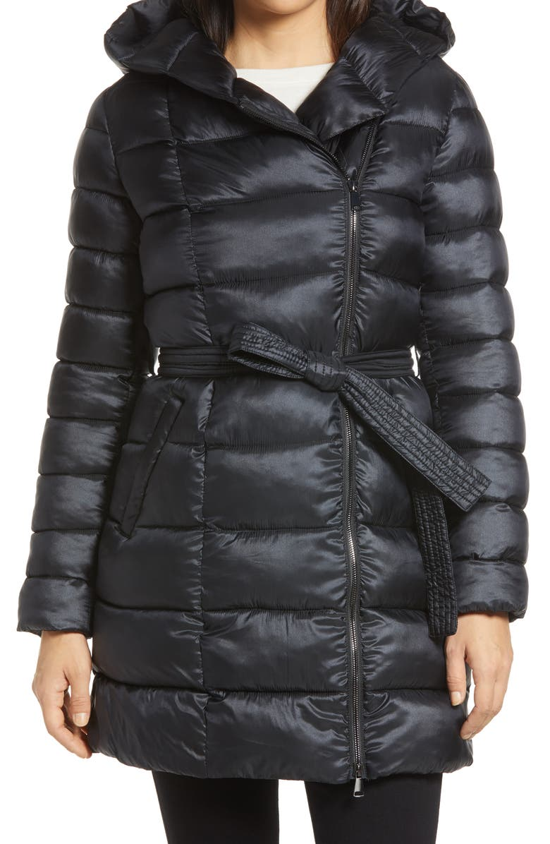 RACHEL PARCELL Belted Asymmetrical Hooded Puffer Coat, Main, color, 001