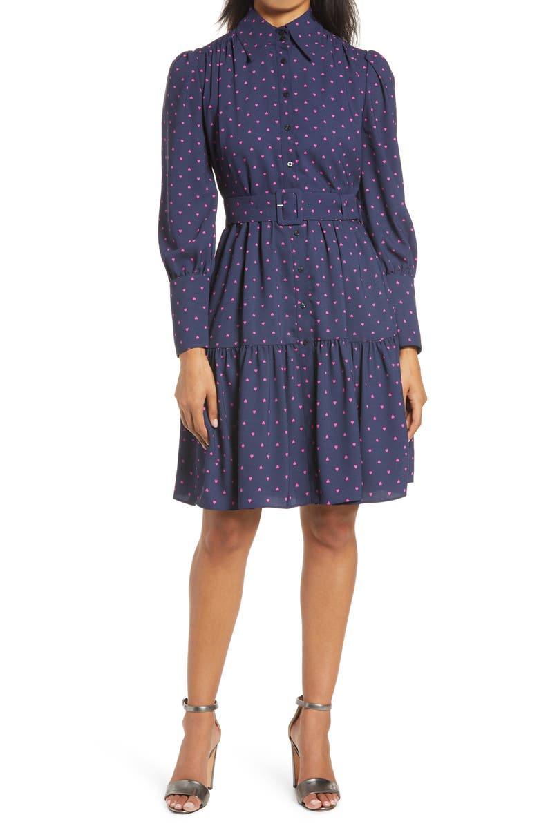 HALOGEN<SUP>®</SUP> x Atlantic-Pacific Belted Long Sleeve Shirtdress, Main, color, NAVY PEACOAT HEART