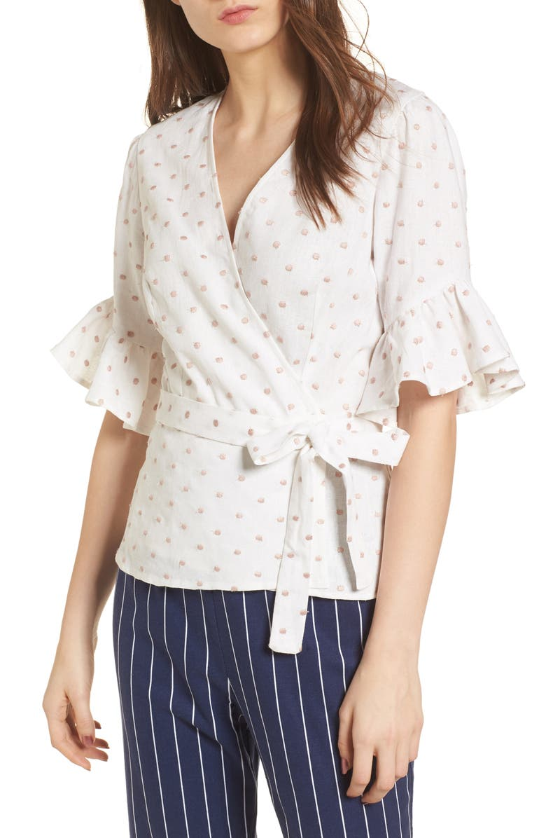 WAYF Kaitlyn Wrap Top, Main, color, IVORY W/ PINK DOT