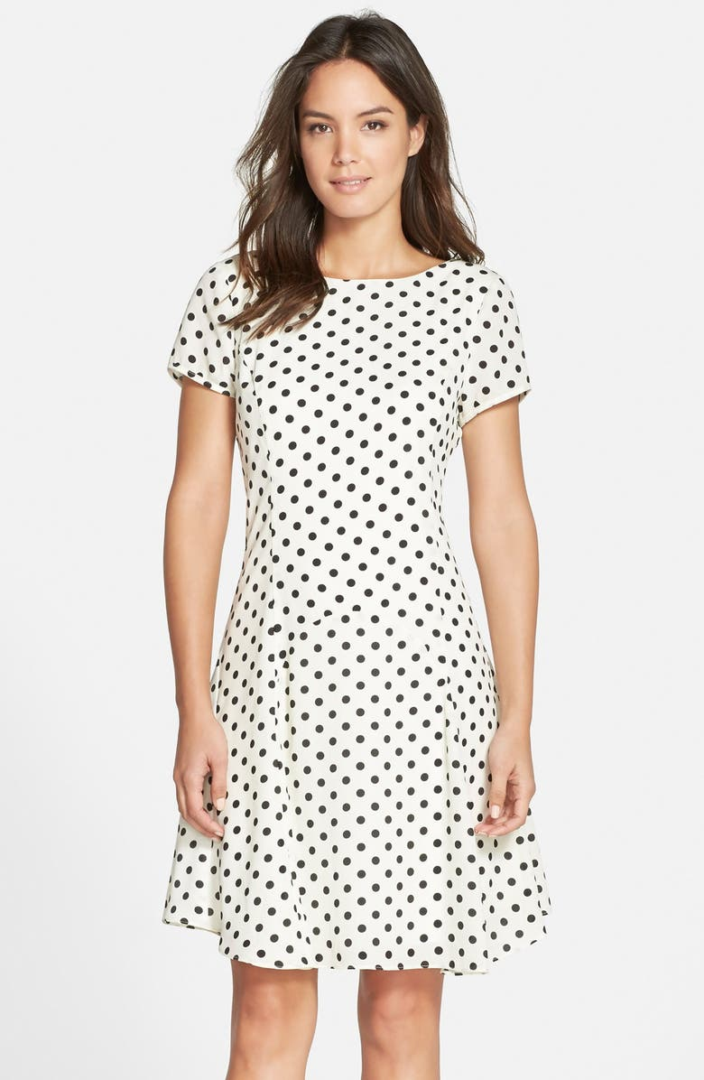 KUT FROM THE KLOTH Polka Dot Fit & Flare Dress, Main, color, 001